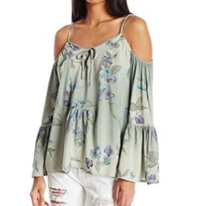 O'Neill floral cold shoulder blouse top sz XS